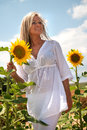 Woman with sunflowers attractive blond haired stands on a summer day Royalty Free Stock Image