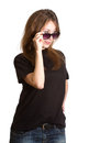 Woman sunglasses isolated white portrait of an attractive beautiful pretty cute successful young caucasian lady girl female person Royalty Free Stock Photography