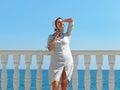 Woman in sunlight black sea ukraine Stock Images