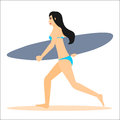 Woman surfer run with surfboard