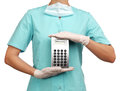 Woman surgeon holding a calculator Royalty Free Stock Photo