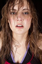 Woman sweat serious look Royalty Free Stock Photography