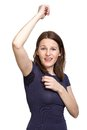 Woman sweating very badly under armpit in blue shirt Royalty Free Stock Image