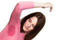 Woman sweating very badly under armpit in pinkt shirt Stock Photography