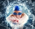 Image : Woman swimmer metallic laptop wearing