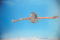 Woman swimming underwater Stock Photos