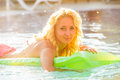 Woman swims with airbed Royalty Free Stock Photo