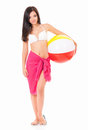 Woman in swimsuit with beach ball Royalty Free Stock Photo