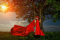Woman in on the swing beautiful red dress with flower wreath forest sunset Royalty Free Stock Photos