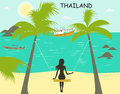 Woman on the swing in thailand beach Stock Image