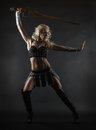 Woman and sword performer wearing sexy costume holding a grey smoky background Stock Images