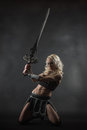 Woman and sword performer wearing sexy costume holding a grey smoky background Stock Image