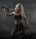 Woman and sword performer wearing sexy costume holding a grey smoky background Stock Photography