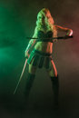 Woman and sword performer wearing sexy costume holding a samurai grey smoky background Stock Images