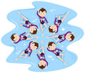 Woman synchronised swimming in group Royalty Free Stock Photo