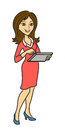 The woman with the tablet holding a computer vector illustration Stock Photo