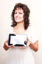 Woman with a tablet pc young holding Royalty Free Stock Photo