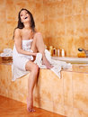 Woman take bubble  bath. Royalty Free Stock Image