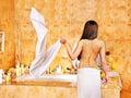 Woman take bubble bath young Stock Image