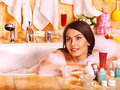 Woman take bubble bath young Stock Photography