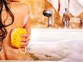 Woman take bubble bath young Stock Photo