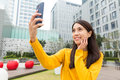 Woman take selfie by phone mobile Royalty Free Stock Photos
