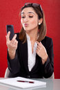 Woman takes pictures on your phone beautiful Stock Photos
