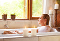 Woman taking bath Royalty Free Stock Photo
