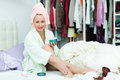 Woman taking care of leg smiling young skin after shower Royalty Free Stock Photography