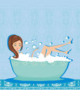 Woman taking hot bubble bath