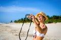 Woman taking selfie photo on tropical vacation joyful caribbean happy brunette having fun in playa paraiso riviera maya mexico Royalty Free Stock Images