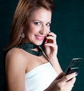 Woman talk on the mobile phone Stock Photography