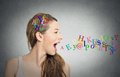 Woman talking, alphabet letters in her head coming out of mouth Royalty Free Stock Photo