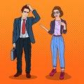 Woman Talking with Businessman. Business Meeting. Pop Art illustration