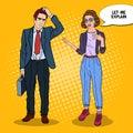Woman Talking with Businessman. Pop Art illustration