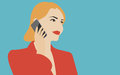 Woman talking on the mobile phone illustration flat design vector in retro colors of young beautiful holding modern device and Stock Images