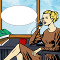 Woman talking on phone with speech bubble comic book style illustration of a Stock Photography