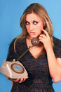 Woman talking in telephone very pretty Stock Photography