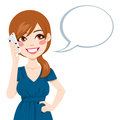 Woman talking using smartphone beautiful brunette her with a speech bubble Stock Photo