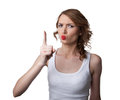 Woman in tank top show finger attention emotion Royalty Free Stock Image