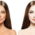Woman with tanned skin before and after tan beautiful young Royalty Free Stock Photo
