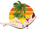 Woman Tanning on Beach Royalty Free Stock Photography