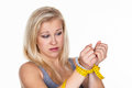 Woman with tape measure before the next diet Royalty Free Stock Image