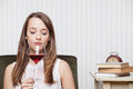 Woman tasting wine beautiful girl red Royalty Free Stock Photo