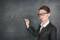 Woman teacher teaching maths in glasses Royalty Free Stock Images