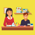 Woman teacher tutor tutoring boy kid at home mother helping son with homework flat style vector illustration on white background Royalty Free Stock Photo