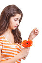Woman tearing petals Royalty Free Stock Photography