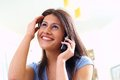 Woman and telephone Royalty Free Stock Photo