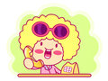 A woman telephone consultation style girl character design seri series Stock Photo