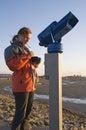Woman and telescope Stock Photos